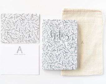 Personalized Stationery Set | Illustrated Botanical Stationery Gift Set with Custom Flat Cards, Journal, and Notecards : Seeded
