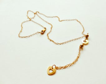 14K Gold Filled necklace with hearts