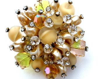 Rhinestone Brooch, Signed Vendome, Crystal Beads, Rockabilly Pin, Vintage Brooches, Fashion Pin,Vendome Jewelry,Vintage Pin