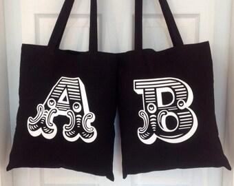 Black Initial Tote Bag Personalised Tote Canvas Bag Canvas Tote Bag Black Canvas Tote Bag - Letter Bag - Shopping Bag - Alphabet Bag