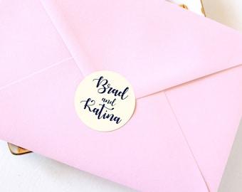 Navy Wedding Favor Stickers, Blue Wedding Favor Labels, Navy Blue Wedding Envelope Seals, Envelope Stickers. ST 003
