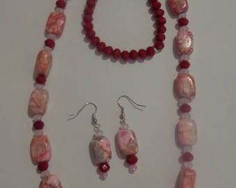 Red Line Marble Necklace and Earrings,Long Red Necklace Set