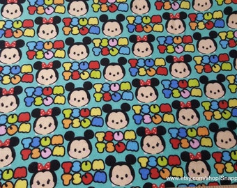 Character Flannel Fabric - Tsum Tsum Mickey Minnie Stripe - 1 yard - 100% Cotton Flannel