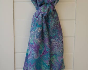 Handmade Water-marbled Silk Scarf - Purple, Violet, Turquoise, Green