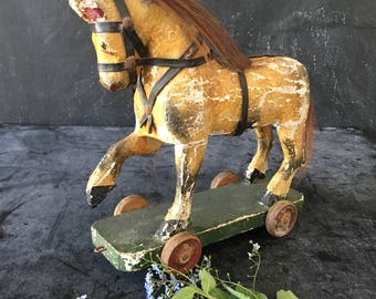 Victorian wooden horse pull toy~ child's toy early 1900s rustic primitive toys from MilkweedVintageHome