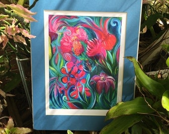 Bohemian Art, Colorful, Tropical, Boho Wall Decor, Matted Art Print