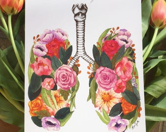 Anatomical lungs with flowers/ watercolor/ art print/ 8x10 in