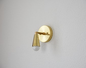 Free Shipping! Wall Sconce Single Light with Cone Cover Vanity Gold Brass Modern Abstract Mid Century Light Bathroom UL Listed