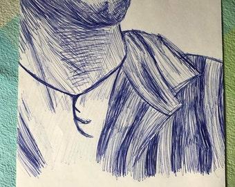 Partial Male Portrait- Blue Ink