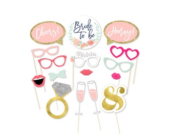 Photo Booth Props - Photo Props - Bachelorette Party Props - Bride to be - Watercolor - Wedding Shower - Bridal Shower - She said yes -Party