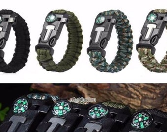 Wounded Warrior Project Gets 25% of Your Purchase Men & Women Paracord Survival Bracelet Paracord Fire Starter Compass Whistle