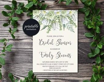 Floral Bridal Shower Invitation, Greenery Bridal Shower Invitation Printable, Spring Bridal shower Botanical Bridal Shower Invitation Green