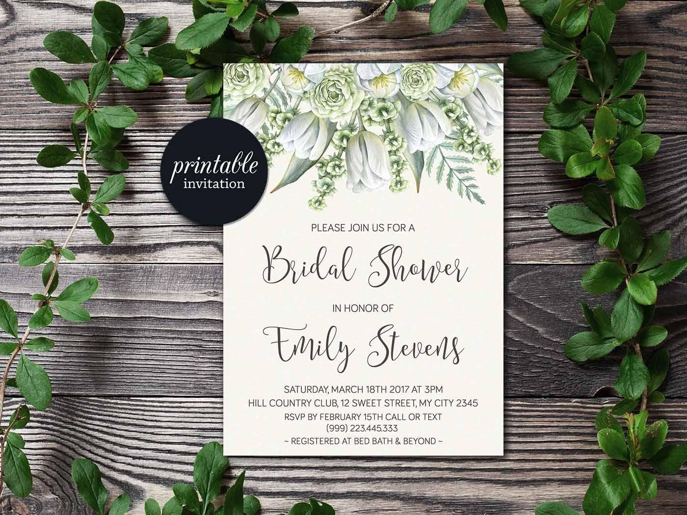 Wedding Shower Invitation: Floral Bridal Shower Invitation Greenery Bridal Shower