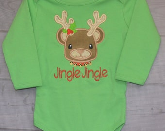 Baby Rudolph Reindeer Applique Shirt or Onesie Boy or Girl