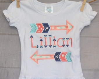 Personalized Arrows Applique Shirt or Onesie Girl or Boy