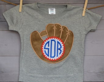 Personalized Baseball and Glove with Initials monogram Applique Shirt or Onesie Girl or Boy
