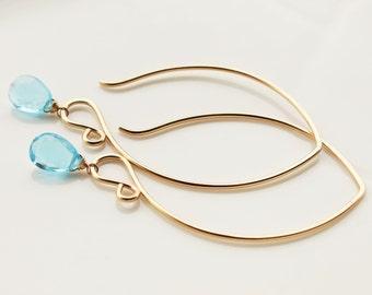 SALE: Long Dangle Gold Earrings with Swiss Blue Topaz Gemstones and Handmade 14 Karat Gold Filled Chandelier Hooks