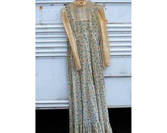 1970s Vintage Paisley Printed Long Sleeve Long Dress - Retro Floral