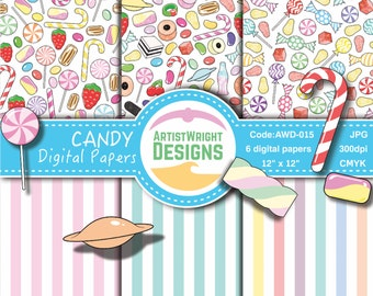 Candy Digital Paper Pack - Candy Patterns - Sweets Patterns - Candy Paper Pack - lollipops, jelly beans, candy. COMMERCIAL USE*.AWD-015