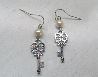 Silver Antique Key Earrings
