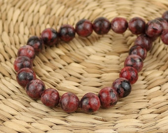 10 mm Red Jasper beads • Jasper gemstone beads •Red Jasper beads • Natural stone beads •10 mm round jasper stone• Red, and black beads