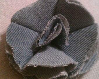 blue denim flower hair clip