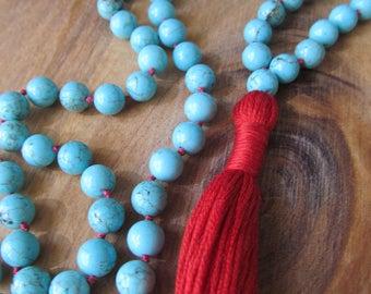 108 Bead Turquoise Mala, Mala Beads, Mala Necklace, Long Necklace, Prayer Beads, Yoga Jewelry, Japa Mala, Meditation Beads, Knotted Mala