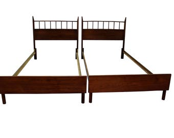 Pair of Mid-Century Danish Modern Walnut Spindle Twin Size Bed Frames