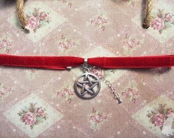 Blood Red Witchy Velvet Pentacle/Pentagram Choker