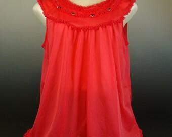 Sheer Juicy Red Babydoll Negligee 60s Kitten Nightie Burlesque