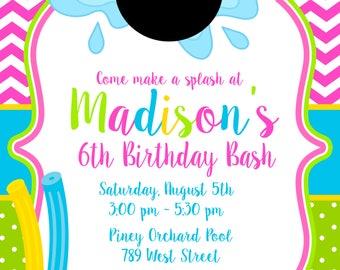 Minnie Mouse Pool Party, Swim, Swimming, Splash Pad, Splish Splash, Birthday Party Invitation- Printable or Printed