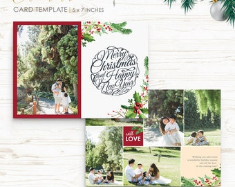 Christmas Card Template - Holiday Card Template - Photo Card Template - Instant Download - CRC010