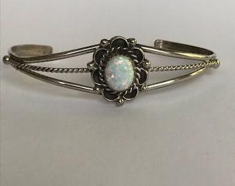Navajo Opal Sterling Cuff Bracelet 925 Silver Freida Martinez Vintage Jewelry Tribal Southwestern Native Anniversary Birthday Mother's Gift