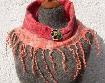OOAK Handfelted Angora Loop Wrap Cowl With Wensleydale Locks Gift For Her