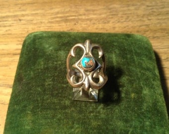Vintage Sandcast Native American Silver and Turquoise Ring