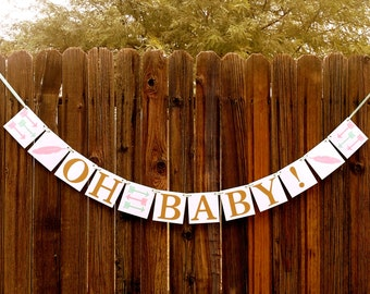 OH BABY banner - Tribal Banner Arrows, Feathers, Teepees - Boy or Girl - Baby Shower Decor, Gender Reveal, New Baby - Pink & Mint - TRIBAL