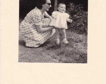 Cool Mother Wearing Sunglasses, Gingham Chequered Dress - Cute Baby  - Vintage Snapshot Photo