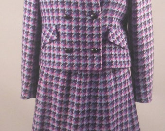Plaid Wool Skirt Suit, Mario Forte for Handmacher, Purple, Vintage 1950's-1960's