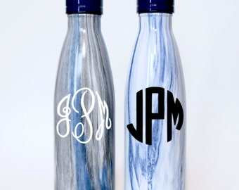 Personalized Blue Marble Stainless Steel Skinny Water Bottle