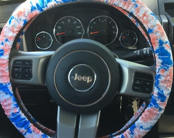 Pink and Blue Clover Flower Print Steering Wheel Cover
