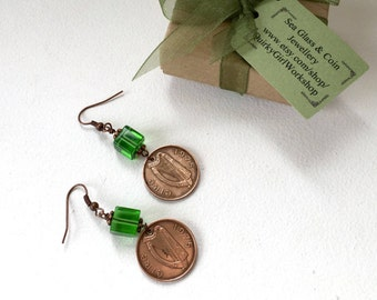 1975 Irish coin earrings, kelly green glass jewelry, vintage penny, 42nd birthday or anniversary gift, lucky irish penny, retirement