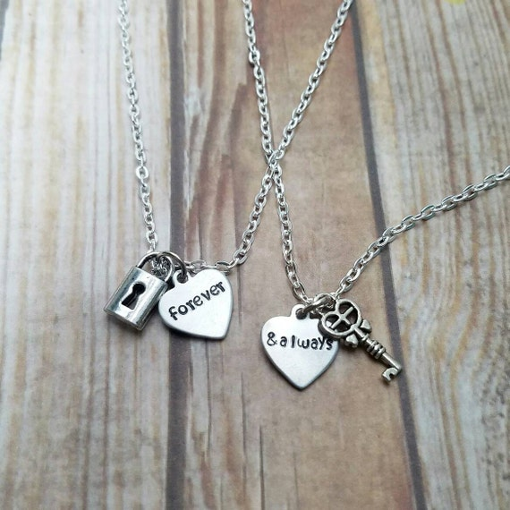 forever and always necklace set couple necklace set lock