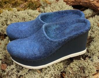 Blue denim woolen clogs Felted shoes mega platform 90s fashion Free shipping Organic vegan sandals Minimalist style Custom size Summer