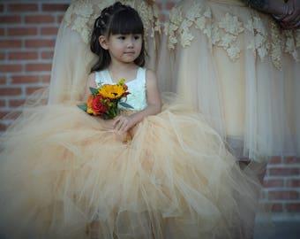 Flower girl dress Tulle flower girl dress-Champagne  Dress -Tulle dress-Infant/Toddler -Pageant dress-Princess dress -Champagne flower dress