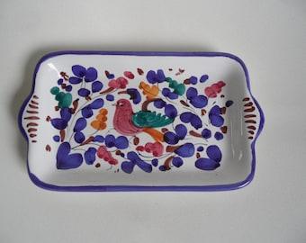 Deruta  Gimignano italian ceramic plate,small handpainted plate,Deruta Majolica plate with bird,collectible italian ceramic art