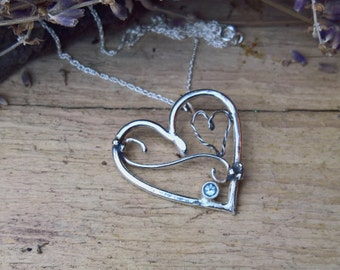 Sterling silver necklace. Silver pendant. Blue Topaz. Topaz necklace. Topaz pendant. Heart pendant. Gift for her. Handmade jewellery.