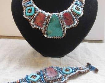 Bead embroidery geometrical semiprecious stones jewelry set Bead embroidery necklace bracelet earrings ring Semiprecious stones  seed beads