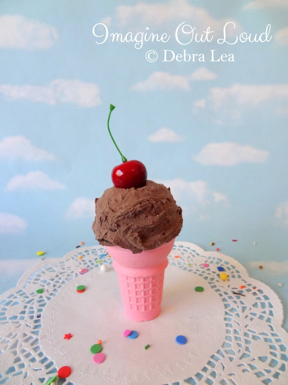 Fake Ice Cream Chocolate Cherry Realistic Faux Scoop Pink Cone Prop Decor