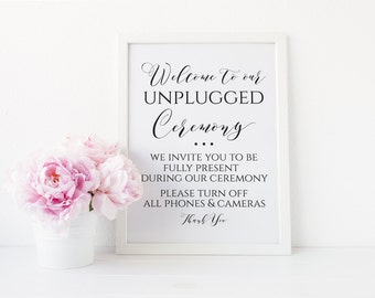 Unplugged Wedding Ceremony Sign, Unplugged Ceremony Printable, No Cell Phone Wedding Sign, Ceremony Wedding Sign, Instant Download. WC3