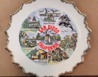 SOUVENIR PLATE California plate San Diego California vintage California